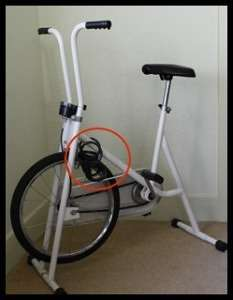 Exercise bike with lock highlighted